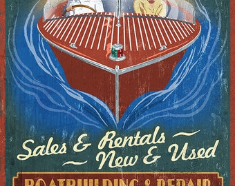 Lake Winnipesaukee, New Hampshire - Vintage Boat Sign (Art Prints available in multiple sizes)