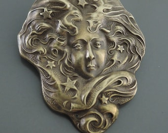 Vintage Brooch - Art Nouveau jewelry - Goddess Jewelry - Brass Jewelry - handmade jewelry
