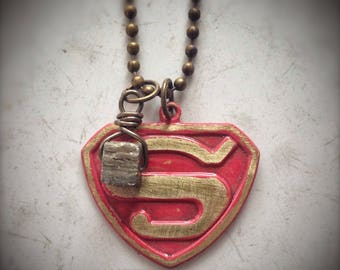 Superhero Unisex Necklace,  brass S triangle pendant with pyrite 'fool's gold' drop, hand painted, cosplay, halloween, Valentine's Day Gift