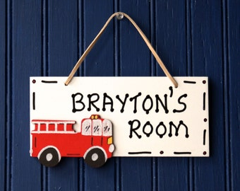 Fire Truck Door Sign, White. Red Fire Truck Cutout, Boy's Room Sign. Boys Room Decor. Hand Personalized. Firetruck Decor. Door Name Plaque.