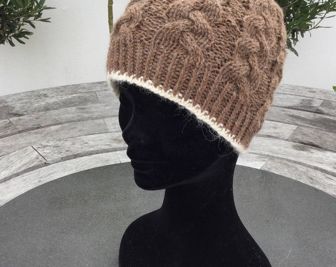 Ladies alpaca hat, alpaca beanie, brown pure alpaca cable beanie hat by Willow Luxury ( one size)