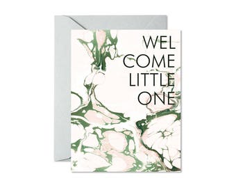 WELCOME LITTLE ONE Blush and Sage Marble Greeting Card / New Baby / New Puppy / Adoption