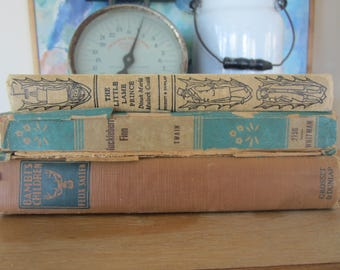 Vintage Book Bundle Decorative Covers in Autumn Colors Huckleberry Finn Bambi's Children The Little Lame Prince