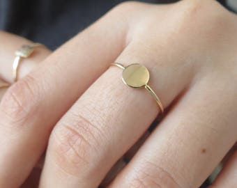 Circle Ring Dot Ring Dainty Stacking Ring Geometric Ring 14kt Gold Fill Sterling Silver Rose Gold Delicate Ring Gift for Women