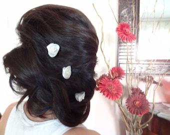 White Rose Wedding Hair Pins, Ivory Bridal Hair Pins, Hair Accessories, Bridesmaid Hair, Woodland - Set of 3