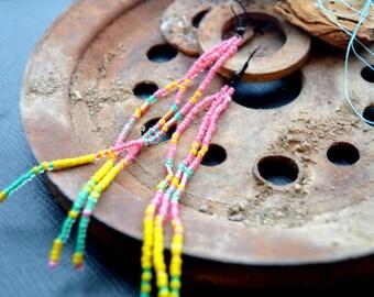 Beaded Earrings / Tassel Earrings / Fringe Earrings / Beaded Fringe Earrings / Bohemian Fringe Earrings/ Bright Colorful / Long Earrings
