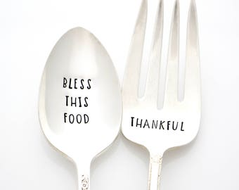 Serving Spoon and Fork Set. Bless this Food, Thankful. Thanksgiving Decor, Christmas Table Decor, Holiday Silverware. Hand Stamped Servers.