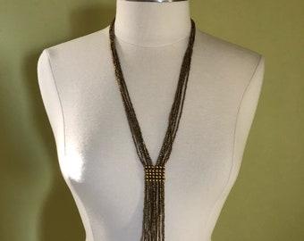 "Long Multi Strand Ethnic Gold Beaded Necklace 28"" L with Tassel 5.5""  Boho Festival Coachella Summer Statement"