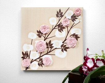 Baby Girl Gift, Canvas Art Sculpted Rose Painting, Small Custom Nursery Name Art in Pink and Brown - 10x10