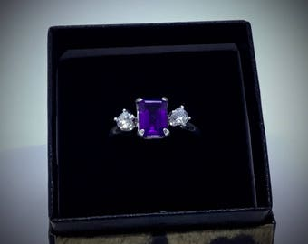 Brazil 8 x 6mm  Amethyst Size 8 1/2 Ring