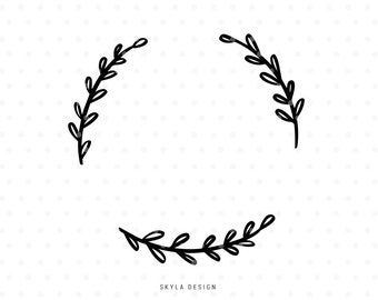 Wreath svg cut file, Svg clip art, Leaves Svg, Leaves clipart, Wreath SVG, Flourish Svg, svg cutfile, svg cut file for cricut, silhouette