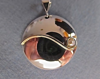 Sterling silver and 14k yellow gold pendant with pearl