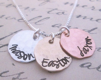 Hand Stamped Mommy Necklace - Three Loves II - Mixed Metal mothers necklace