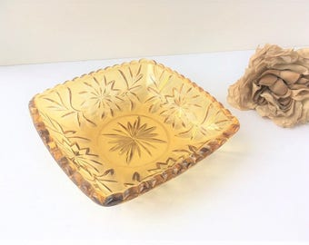 Amber Glass Square Dish / Vintage Amber Glass Dish / Glass Serving Dish  / Glass Candy Dish / Vintage Dish / Amber Candy Dish / Amber Glass