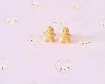 earrings mini gingerbread kawaii polymer clay