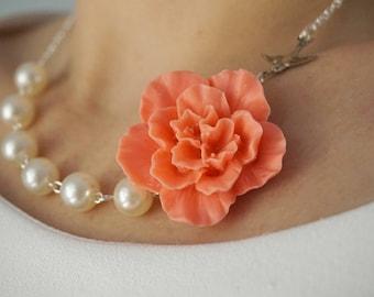 Coral Necklace Flower Necklace Bridesmaid Jewelry Bridesmaid Gift Statement Necklace Pearl Necklace Ivory Necklace Gift Wedding Necklace