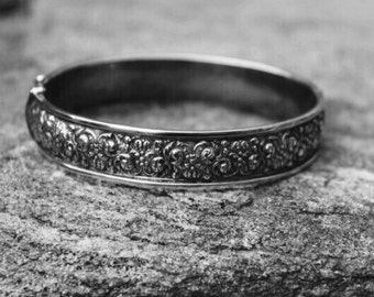 Heirloom Victorian Repoussé Floral Botanical Sterling Silver Bangle Bracelet
