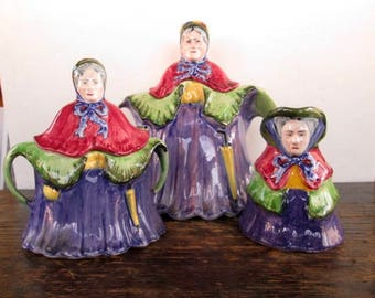 Cute Staffordshire England Aunt Jane Tea Set