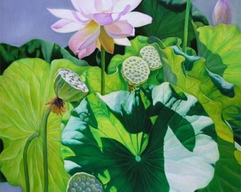 Warm Sunlight  30x30 Lotus Flower Oil Painting,  Holiday gift.