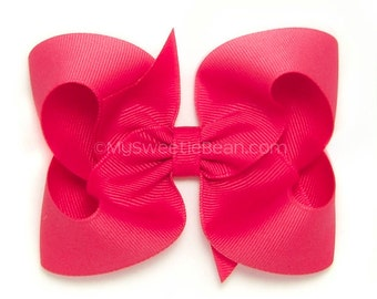 French Pink Hair Bow, 4 inch Basic Bow, Dark Pink Boutique Bow, Classic Bow for Women and Girls