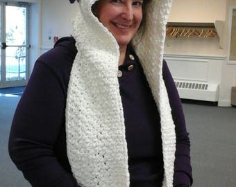 Hooded Unicorn Pocket Scarf, adult size, ready to ship. White scarf with golden horn and rainbow mane.