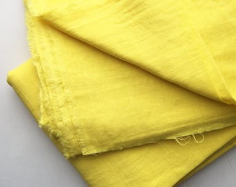 cotton double gauze fabric. soft japanese pure cotton fabric. 102cm (40in) wide. sold by 50cm (19in) long / half yard. bright yellow