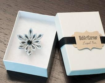Silver Gray Satin Poinsettia Flower Lapel Pin, Silver Kanzashi Inspired Flower Lapel Pin, Christmas Lapel Pin, Holiday Lapel Pin