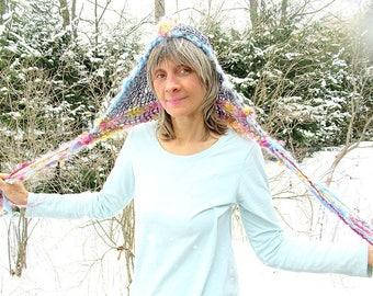 hand knit fairy hat art yarn beaded fantasy faerie hairnet hood hat - dream muse