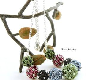 Polka Dot Beaded Bead Necklace by Sharri Moroshok