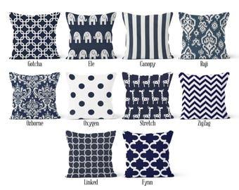 Navy Blue Pillow Cover, Decorative Throw Pillow Covers, Euro Pillow Sham 16 x 16, 18 x 18, 20 x 20, 22 x 22, 24 x 24, 26 x 26