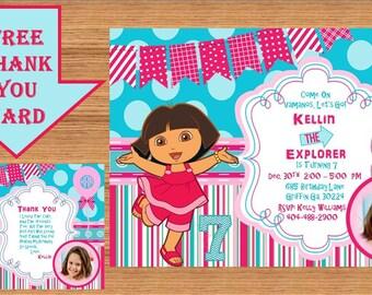 Dora The Explorer Invitation, Dora Invitation, Dora The Explorer Birthday, Dora The Explorer Birthday Party, Dora Party, Thank you Dora 0009