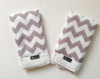 Grey Chevron Baby Burp Cloth Set (2)