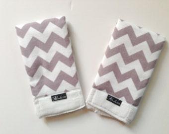 Grey Chevron Baby Burp Cloth Set (2)