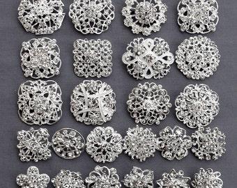 24 Silver Rhinestone Brooch Crystal Brooch FREE Shipping of 20.00 Order Wedding Brooch Bouquet Cake Decoration DIY Kit BR679