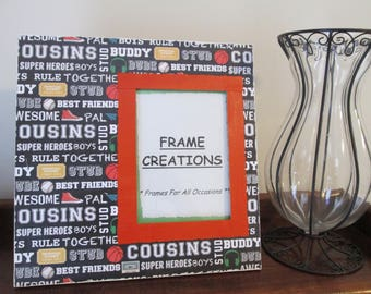 5x7 Cousins Themed - Hand Decorated Picture Frame