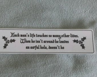 Laminated bookmark inspired by It's a Wonderful Life