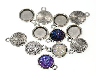 10mm Antiqued Silver Tone Charm Drop Pendant Tray Bezel Blanks