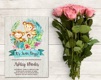 Twin Boys Baby Shower Invitation, It's A Boy, Monkey Invitation, Safari Invitation, Tropical Baby Shower, Jungle, Printable No. 1061