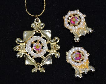 Vintage Necklace and Clip-On Earrings Set with AB Rhinestones Faux Pearls and Gold Tone Metal