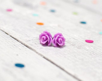 Floral Earrings | Lilac Rose Earrings | Purple Flower Jewellery | Nickel Free for Sensitive Ears