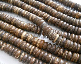 8mm tumbled cocount heishi beads, dark brown, 15.5 inch