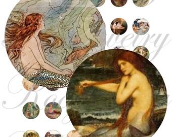 Vintage Mermaids images for 20mm bezel, pendant, buttons, scrapbook and more Vintage Digital Collage Sheet No.1623