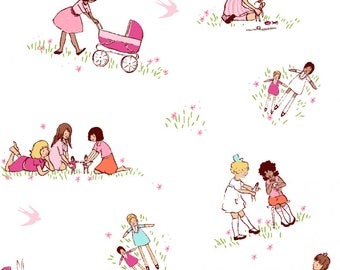 Dolls by Sarah Jane of Michael Miller Fabrics, Children at Play, On Parade, Fabric by the yard, fabrics for girls, Doll print novelty fabric