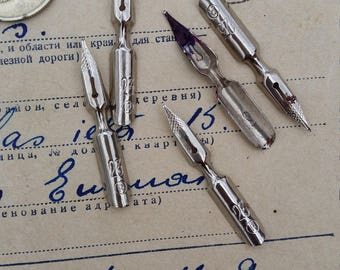 vintage ink pen nibs dip pen nib feather calligraphy pen nib ink pens supplies metal nib soviet ussr Russian ink pen office decor photo prop