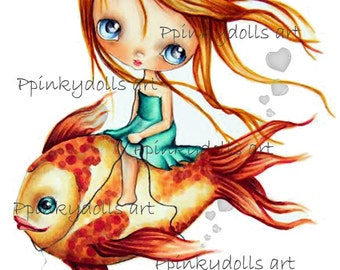 INSTANT DOWNLOAD Digital Digi Stamps..by Chrishanthi's art,My fish''