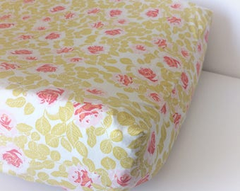 Baby Crib Bedding - Girls Changing Pad Covers / Vintage Floral Girls Crib Bedding / Rose Changing Pad Covers / Pink Boho Baby Bedding