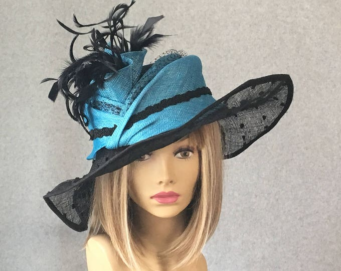 "Featured listing image: Kentucky Derby hat, ""Nisha"" Summer Hat for the races,  large brim straw hat,  sinamay straw hat"