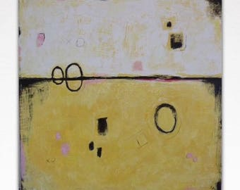 Abstract Texture Painting on Canvas Yellow White Modern Wall Art Large Textured Acrylic Painting  Abstract Landscape Painting