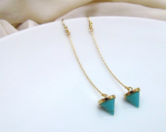 Turquoise cone earrings, long drop earrings, turquoise gold filled earrings, turquoise spike earrings