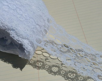 "Wide White Lace - Galloon Style Symmetrical Trim - 2 1/4"" Wide - Bridal Wedding Decor - 4 Yards"